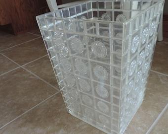 Retro Trash Can Lucite Waste Basket Trash Can Floral Liner Wedding Plastic Waste Can  Bathroom Trash Can Waste Can Retro Trash Can