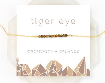 Natural Tiger Eye Necklace, Balance Stone, Celestial Jewelry, Cat's Eye, Festival Necklace, Woodland Jewelry, Rustic Wedding, Gemstone Bar