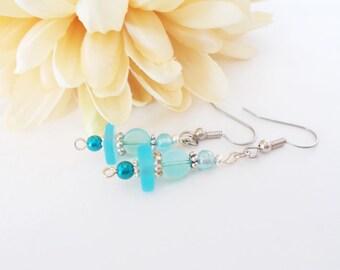 Aqua Seaglass Earrings, Sterling Silver, Beach Earrings, Ocean Blue Earrings, Birthday Gift for Daughter, Tropical Earrings, Bridesmaid Gift