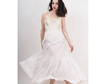 FLASH SALE... Antique cotton petticoat / Vintage 1910s Edwardian era white with pink rose petal print underskirt / Horizontal pin tucking /