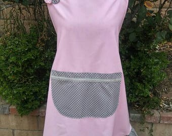 Plus size Pink and grey polka dot womens apron