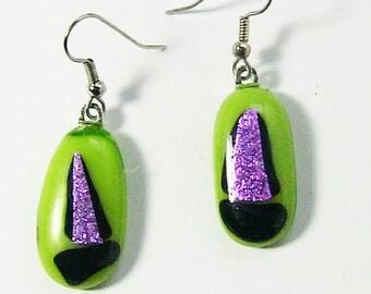 Fused Glass Earrings, Dichroic Glass Earrings, Green & Pink earrings, drop earrings