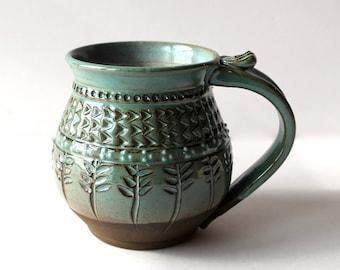 Coffee Mug, Pottery Mug, Handmade Mug, Carved and Textured, Wheel Thrown