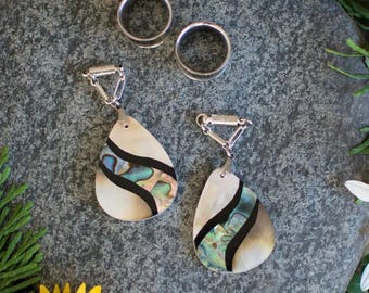 Abalone and Mother of Pearl Magnetic Clasp Gauged Earrings