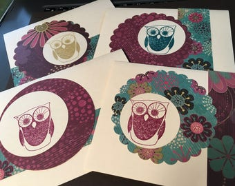 Owl cards - set of 4 - multiple occasions