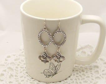 Fleur De Lis Rhinestone Oval Earrings