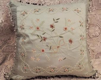 Green Silk Floral Pillow, Vintage French Silk Pillow, Silk Decorator Pillow, Down Filled Pillow , Silk Boudoir Pillow, Bedroom Decor