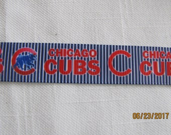 "Chicago Cubs 7/8"" Grosgrain Ribbon BTY - Style 3"
