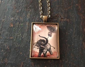 1955 Monaco Stamp- Jules Verne Elephant - Czech Republic Art Nouveau Stamp necklace- Postage Stamp Jewelry - Vintage Postage Stamp