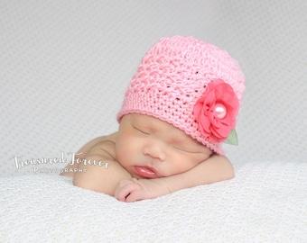 Crochet Baby Hat, Baby Girl Beanie, Newborn Hat, Baby Girl Hat, Baby Girl, Newborn Prop, Newborn Baby Hat, Newborn Beanie, Chiffon Flower