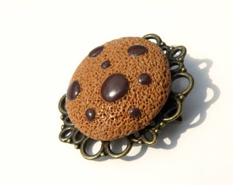 Brooch gourmet royal cookie on a tray - polymer clay jewelry