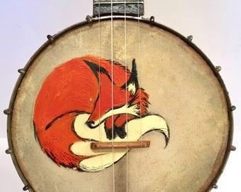 Vintage Sleeping Fox Painted On A vintage BANJO UKULELE banjolele Uke Regal pre war