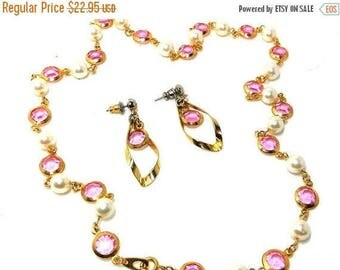 SALE PINK Necklace and Earrings Swinging 60s Channel Set Crystals pearls Fashion