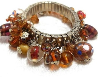 Vintage ChaCha Bracelet Brown Red Topaz wedding cake beads art glass silver Boho