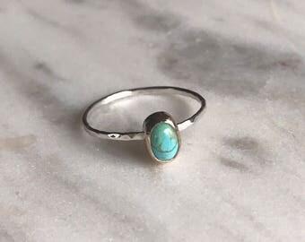 Turquoise stacker ring, turquoise stacker, turquoise ring, minimalist ring, thin ring, boho ring, boho jewelry, December birthstone