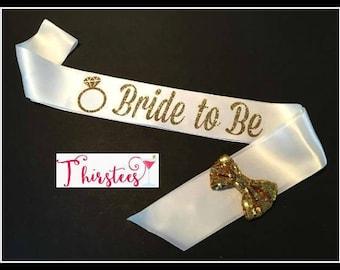 Bride to be sash Gold Glitter Bride Sash Party Sash white and gold bride sash bridal shower sash bachelorette party sash bridal sash