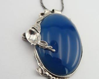 Blue Agate 925 Silver Pendant, Israel Handmade Sterling Silver Pearl Pendant, Blue stone Pendant, 925 Silver chain, Agate Pendant  (434