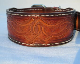 Dog collars, handmade leather collar, tan collar, hand tooled, leather collars, designer collar, leather dog collars,