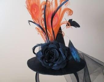 HALLOWEEN Witch Hat Fascinator, Women's Orange & Black Witch Mini Hat, Halloween Fascinator, Halloween Headband, Steampunk Tea Party Hat