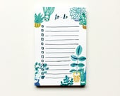 Succulent To-Do List, Succulent Notepad, Succulent Illustration, Organizer, Gift for Her, Watercolor Painting, Christmas Gift Under 10