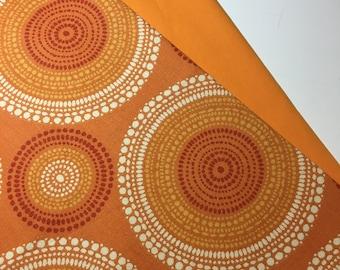 Orange Geometric Circles and Dots Bike Basket liner for Bike Baskets 13x10x10 QR Quick release D shape and Hook
