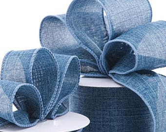 """5 yds BLUE DENIM WIRED Ribbon, 2.5"""" wide    Scrapbooking, Hair Bows, Spring Events Party Supplies, Weddings"""