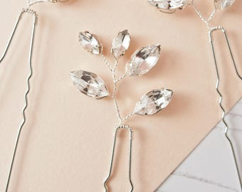 Bridal Pin, Wedding Pin, Bridal Hair Pin, Diamante Pin, Spray Pin, Leaf Hair Pin, Rhinestone Hair Pin, Handmade Wedding Accessories