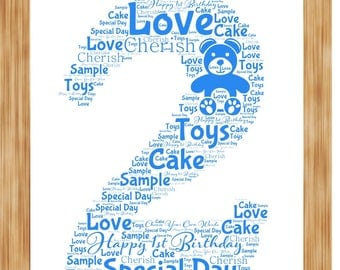 2nd Birthday Anniversary Word Art Print Personalised with your own words