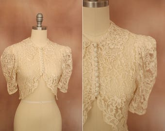 vintage 1930's cream lace cropped shrug blouse / size xs - s
