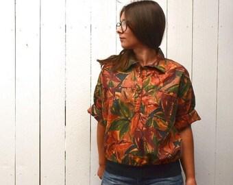34% Off Sale - Jungle Print Top - 1980s Orange Green Vintage Cotton Pullover - Safari Blouse - Medium M / Large L