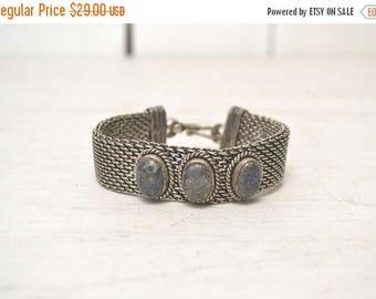 FIRE SALE 25% Off Chain Link Gemstone Bracelet - Early 90s Boho Hippie Bracelet - Vintage Silver Tone Metal Bangle Bracelet