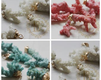 One Piece Natural Coral Charm With Gold Tone Holder - Gift from Ocean
