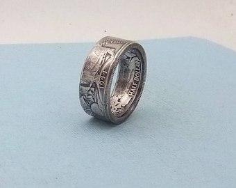 Silver coin ring walking liberty half dollar 90% fine silver jewelry year 1944 size 11, Unique Gift