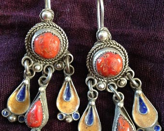 Silver Colorful Enamel Earrings with Coral from South Morocco