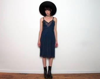 LACE SLIP Vintage LINGERIE Dress 70s Womens Dark Blue Size S/M