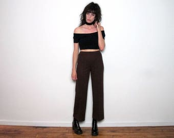 Brown 70s TROUSERS High Waist STRAIGHT LEG Vintage Womens Size 26/30