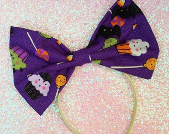 Spooky Cute Cupcakes Hairbow, Halloween Hairbow, Kawaii Halloween, Halloween Cupcake Bow, Sparkle Halloween Accessorie, Halloween Happy Bow