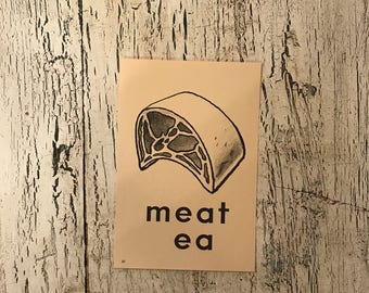 Vintage Alphabet Flash Card - Letter M   for Meat - Picture Flash Card - Farmhouse Decor, Nursery Decor