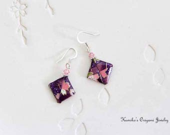 Origami Jewelry - Japanese Origami Square Earrings with Swarovski Crystals & Surgical Steel Hooks No.03458