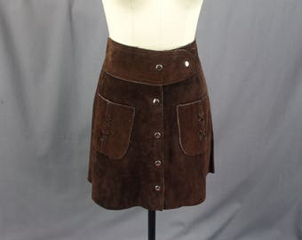 80s Dark Brown Suede Leather Skirt, Suede Mini Skirt, High Waisted Skirt, Boho Skirt, Leather Skirt