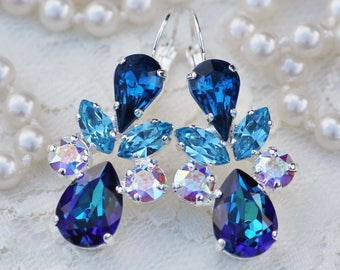 ONLY PAIR Swarovski Bermuda Blue Rainbow Cluster Rhinestone Earring,Multi Crystal Cluster Drop Earring,Pear Teardrop,Crystal Aurora Borealis