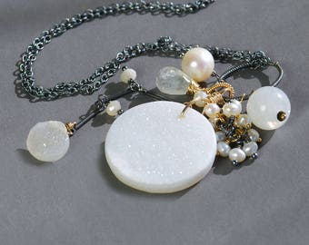Druzy Cluster Neckalce by Agusha. White Druzy Pendant. Multi Gemstone Necklace. White Cluster on Oxidized Silver Chain