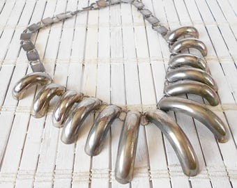 Vintage Silver Claws Necklace, Bear Claw, Talons, Unique Design, 1970's, Statement necklace, Native American style, Rock & Roll, Summertime