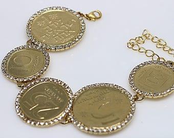 Coin Bracelet, Money Jewelry, Antique Coin Copy, Israel Coin Bracelet, Jewish Bracelet, Holy Land Jewelry,Symbols Characters,Hebrew Bracelet