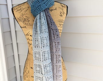 Gradient Knit Scarf, Hand Knit Scarf, Lace Scarf, Hand Knit, Knit Lace Scarf, Gradient Color, Knit Scarf, Handmade Gifts, Gifts for her
