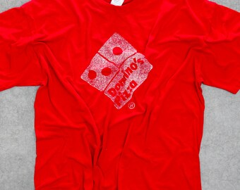 Domino's Pizza T-Shirt 1990s Red Vintage T Shirt Faded Graphics XXL 7W