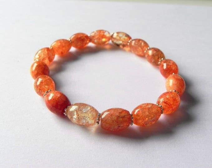 Orange crackled quartz stretch bracelet