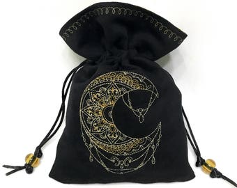 MYSTIC MOON - Faux Suede Embroidered Pouch for Dice, Runes, Tarot Cards, LARP accessory