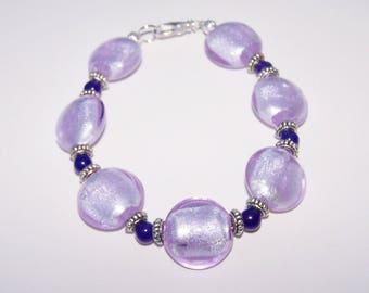 Lavender foil beaded bracelet purple agate bracelet