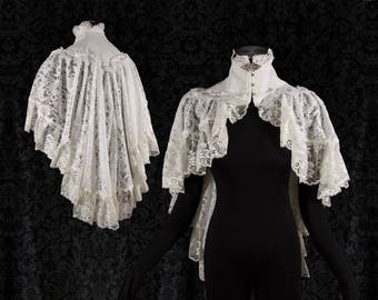 Wedding Cape Victorian, Steampunk shrug, ivory off white lace, Somnia Romantica,size small, see item details for measurements